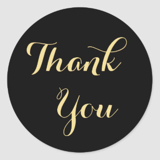 Elegant Black Faux Gold Party Favor Thank You Round Sticker