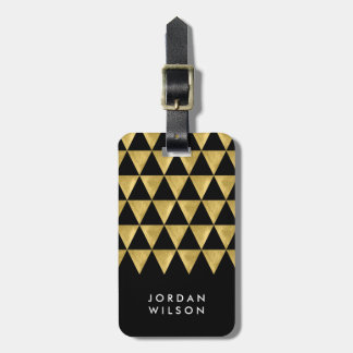 Elegant Black Faux Gold Triangle Luggage Tag