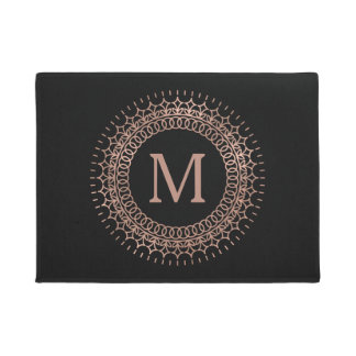 Elegant Black & Faux Rose Gold Initial Monogram Doormat