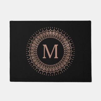 Elegant Black & Faux Rose Gold Initial Monogram Doormat
