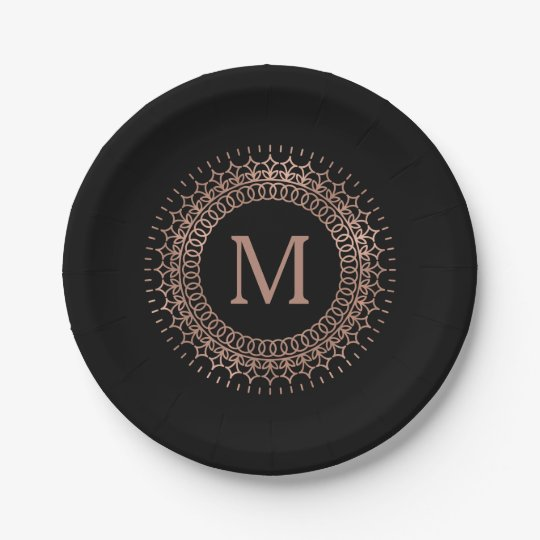 Elegant Black & Faux Rose Gold Initial Monogram
