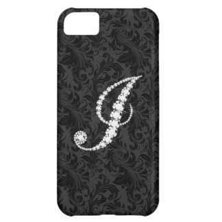 Elegant Black  Floral Damas Diamonds Initial J iPhone 5C Case
