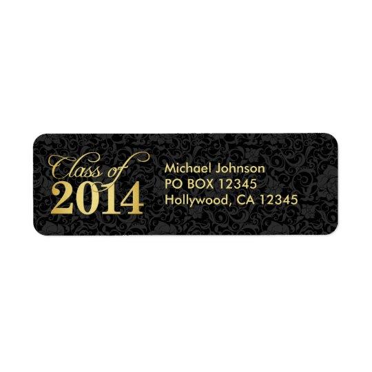 Elegant black floral damask and Gold Class of 2014 Return Address Label