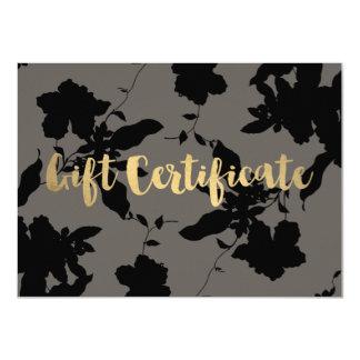 Elegant Black Floral Gift Certificate 11 Cm X 16 Cm Invitation Card