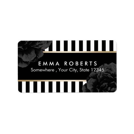 Elegant Black Floral Modern Black & White Stripes Address Label