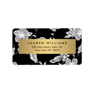 Elegant Black Floral Pattern 3 Address Label
