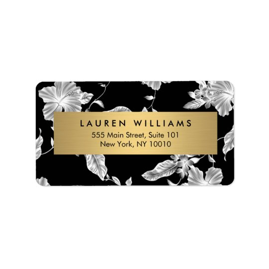 Elegant Black Floral Pattern 3 Address Label