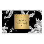 Elegant Black Floral Pattern 3 with Gold Name Logo Business Card Templates
