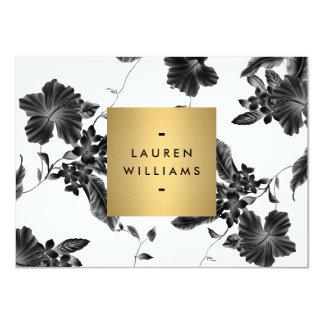 Elegant Black Floral Pattern 4 Flat Notecard