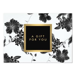 Elegant Black Floral Pattern 4 Gift Certificate 11 Cm X 16 Cm Invitation Card