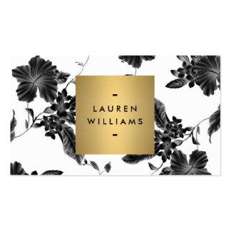 Elegant Black Floral Pattern 4 with Gold Name Logo Pack Of Standard Business Cards