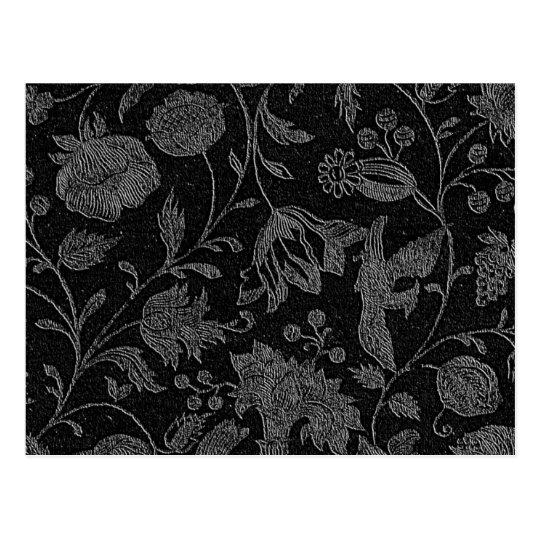 Elegant black floral pattern postcard