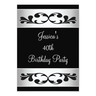 Elegant Black Floral White Party 3 Card