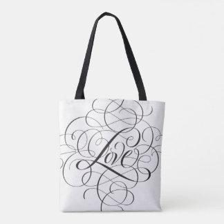 Elegant Black Flourished LOVE Script Lettering Tote Bag