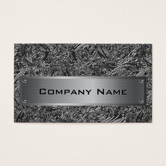 Elegant Black Foil Silver Plate Business Card