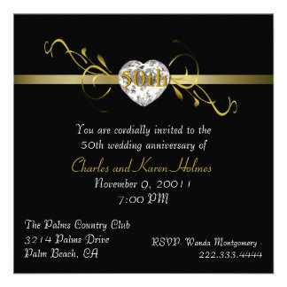 Elegant Black Formal Anniversary Invitation
