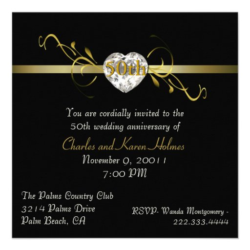 Elegant Black Formal Anniversary Invitation