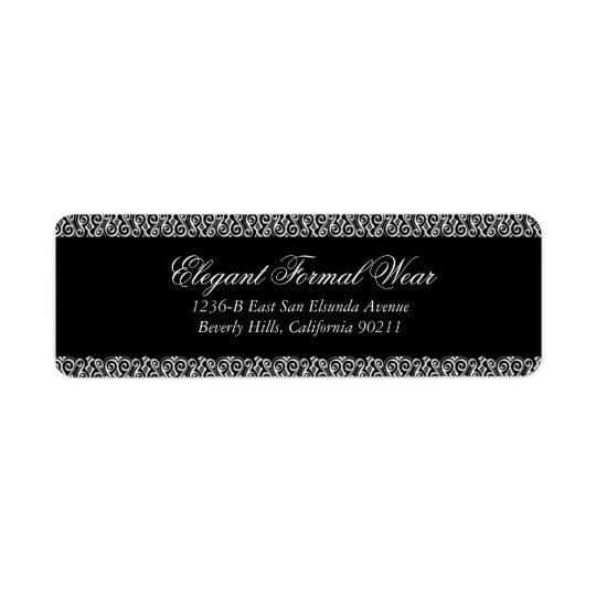 Elegant Black Formal Return Address Label