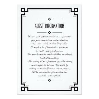 Elegant Black Frame Art Deco Wedding Insert Card 11 Cm X 16 Cm Invitation Card