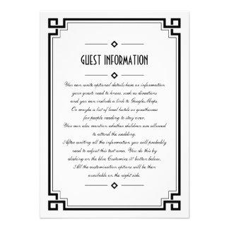 Elegant Black Frame Art Deco Wedding Insert Card