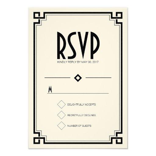 Elegant Black Frame Art Deco Wedding RSVP Card