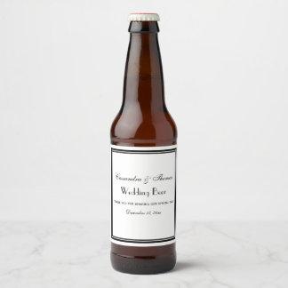 Elegant Black Framed H Beer Bottle Label