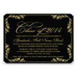Elegant Black/Gold 2014 Classy Graduation Invite