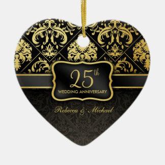 Elegant Black & Gold 25th Wedding Anniversary Christmas Ornament