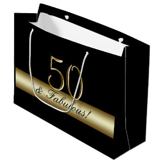 Elegant Black Gold 50th Birthday 50 and Fabulous Large Gift Bag