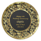 Elegant Black & Gold 50th Wedding Anniversary 2 Plate