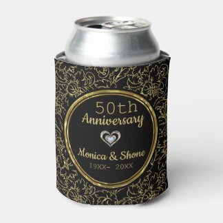 Elegant Black & Gold 50th Wedding Anniversary Can Cooler