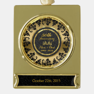 Elegant Black & Gold 50th Wedding Anniversary Gold Plated Banner Ornament