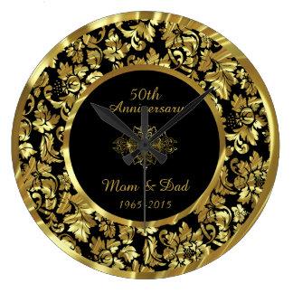 Elegant Black & Gold 50th Wedding Anniversary Large Clock