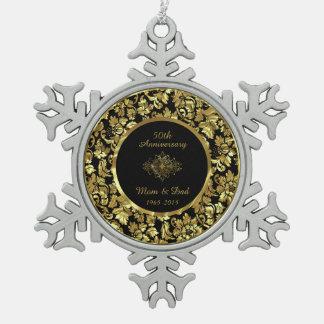 Elegant Black & Gold 50th Wedding Anniversary Snowflake Pewter Christmas Ornament
