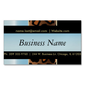 Elegant Black, Gold and Aqua Blue Leopard Stripes Magnetic Business Cards