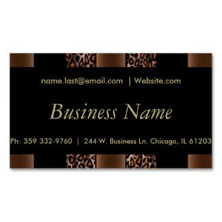 Elegant Black, Gold and Brown Leopard Stripes Magnetic Business Cards