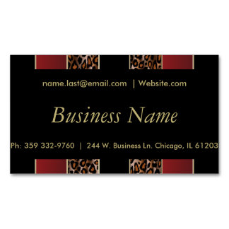 Elegant Black, Gold and Burgundy Leopard Stripes Magnetic Business Cards