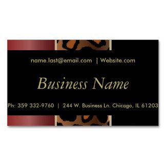 Elegant Black, Gold and Garnet Red Leopard Stripes Magnetic Business Cards