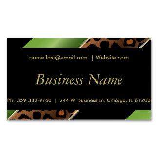 Elegant Black, Gold and Green Leopard Stripes Magnetic Business Cards
