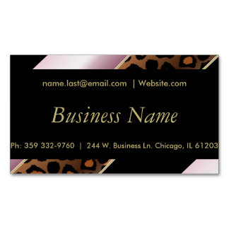 Elegant Black, Gold and Pink Leopard Stripes Magnetic Business Cards