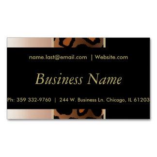 Elegant Black, Gold and Rose Leopard Stripes Magnetic Business Cards