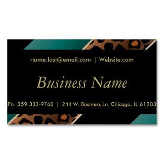 Elegant Black, Gold and  Teal Leopard Stripes Magnetic Business Cards