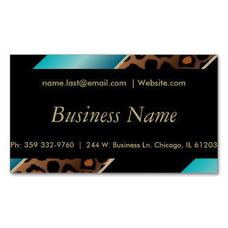 Elegant Black, Gold and Turquoise Leopard Stripes Magnetic Business Cards