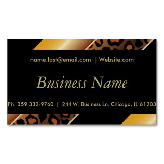 Elegant Black, Gold and Yellow Leopard Stripes Magnetic Business Cards