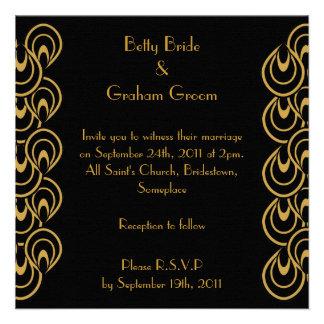 Elegant Black Gold Art Deco Linen Invites