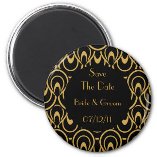Elegant Black Gold Art Deco Save The Date Magnets