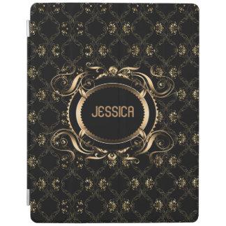 Elegant Black & Gold Baroque Floral Frame iPad Cover