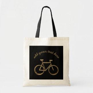 Elegant Black Gold Bike Bicycle Cycling Cyclist Tote Bag