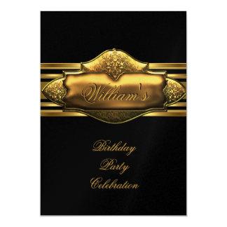 Elegant Black Gold Birthday Party Mens 60th 13 Cm X 18 Cm Invitation Card
