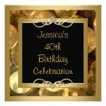 Elegant Black Gold Bubbles Metal Frame Party Custom Invitations